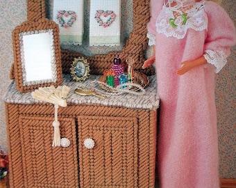 Antique Washstand & Mirror for Barbie or Fashion Doll Dollhouse - Plastic Canvas PATTERN - Annie's Fashion Doll Plastic Canvas Club NEW 1995