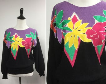 Purple Flower Sweater with Floral Appliqué in Hot Pink, Bright Yellow, and Green - Lavender and Black, Pink & Green Zig Zags - Vintage 80s