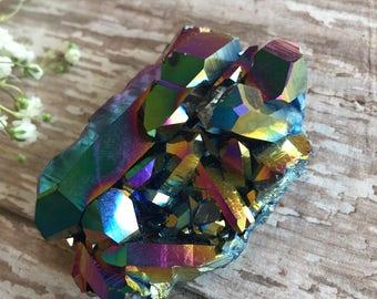 Rainbow Aura Quartz Cluster-Rainbow Aura Quartz-Aura Quartz Cluster-Quartz-Aura Crystal-Mineral specimen