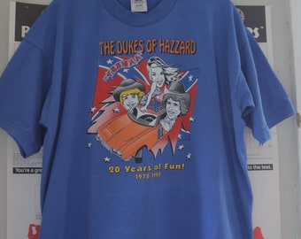 "Vintage ""The Dukes of Hazzard"" 20th Anniversary 1998 Blue T-Shirt XL"