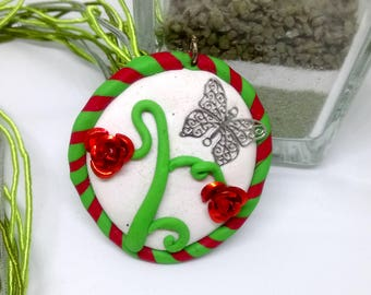 Botanical enchantment polymer clay necklace