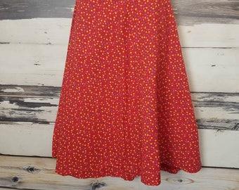 Vintage 1970s Red Floral Boho A-Line Midi Skirt