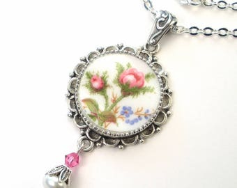 Broken China Jewelry Pink Rose Flower Necklace Floral Flower Pendant Handcrafted by Charmedware