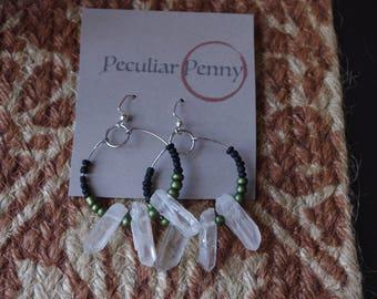 Green and Black Quartz Hoop Earrings- Quartz Earrings- Boho Style Jewelry- Bohemian Style Jewelry- Boho Hoop Earrings- Hoop Earrings