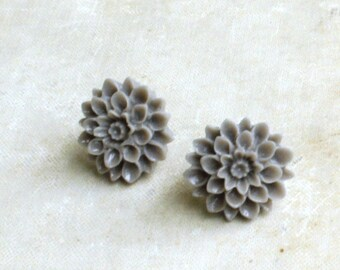 Gray Flower Earrings, Flower Stud Earrings