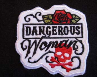 Embroidered Dangerous Woman Rose Iron On Patch, Rose Patch, Dangerous Woman Patch, Iron On Patch, Skull And Rose Patch, Iron On Skull Patch