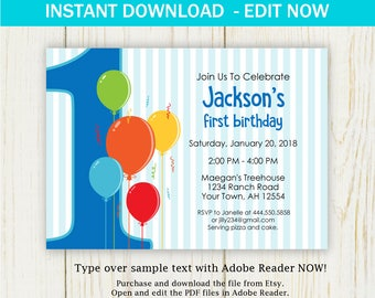 First Birthday Invitation EDIT NOW birthday party blue invitation Instant Download - digital
