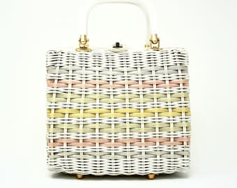 Vintage Handbag 1950s Stylecraft Miami Rare White and Pastel Woven Purse with Pearlized Lucite Handles Gold Toned Hardware