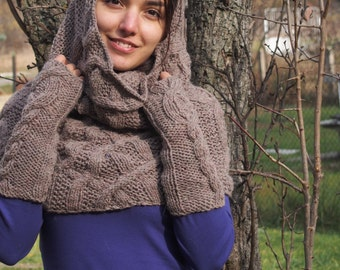 Hand Knitted Shawl Milky Brown Wool Hooded Scarf Collar Neckwarmer Bolero Shrug Shawl with Separate Sleeves & Nara PP004