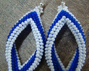 Blue and white rhomb earrings, beaded tassel earrings, rhomb-earrings, party jewelry, Bead earrings, for women-gift, birthday gift