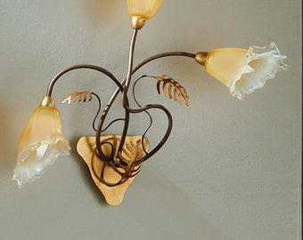 Hand Forged Italian Wall Sconce with Venetian Glass, Wall Sconce, Wall Mount, Tropical Wall Sconce, Tropical Lighting