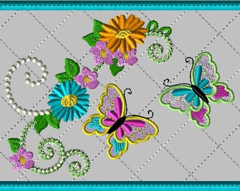 Machine Embroidery Design-ITH-Mug Rug-Double Butterfly with Flowers includes 2 sizes, 5x7 and 6x10 hoops