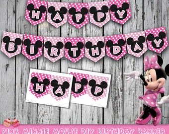 Pink Minnie Mouse Happy Birthday Banner