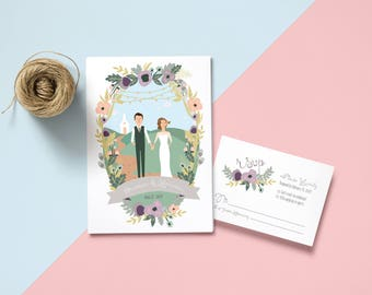 Going to the Chapel Couples + Family Portrait Wedding Invites /// Illustrated Couples  + Family Portrait /// Christian Church Wedding