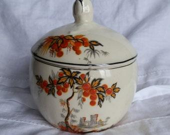 Vintage 1930's  Sugar Bowl / Jam / Marmalade Pot and Lid Orange Tree Pattern Made in England