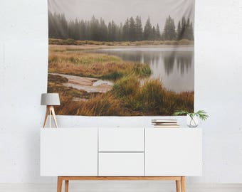 Foggy Forest, Autumn Lake Wall Tapestry, Colorado Tapestry, Tapestry Wall Hanging, Reflection, Forest Tapestry, Cloudy Forest, Mountain View