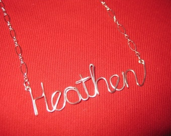 SOLID STERLING SILVER Heathen Necklace // Word Necklace // Wire Word Necklace // Christmas Necklace