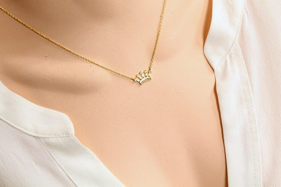 Crown necklace in gold Zeta Tau Alpha ZTA Necklace Princess