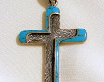 Vintage Turquoise Sterling Silver Cross