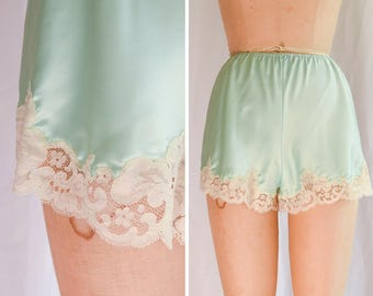 Eve Stillman | 1960s Vintage Tap Pants Mint Silk Charmeuse with Ivory Floral Lace Trim Satin Sleep Shorts 60s Lingerie Underpinnings Sz. S