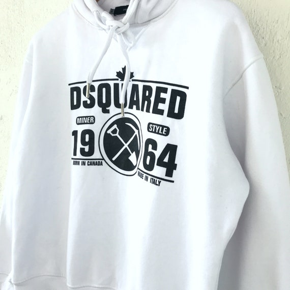 XL Dsquared2 Logo Dsquared2 Pullover Sweater Hoodie Italy White Size Printed Rare 1WBqwO6xx