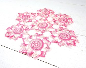 Vintage Pink Hand Crochet Doily