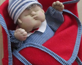 Soft Sculpture Doll/ Puppet, 12 Inches with blanket, Boy in Blue with Red blanket