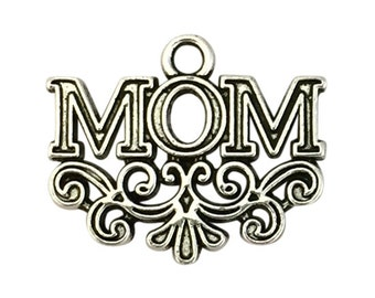 5 Silver Mom Charm Pendant 18x22mm by TIJC SP1447
