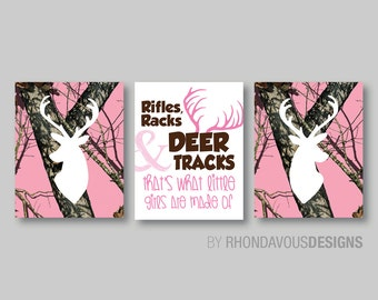 Pink Camo Deer Head Print Trio - Tree Camouflage Antlers Buck Hunting Girl Kid Child Nursery - You Pick the Size (NS-378)
