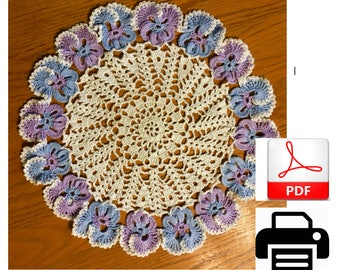 Crocheting Pattern, Lace Doily Pattern, Pansy Doily Pattern, Easy Crocheted Doily, Make Your Own Doily,