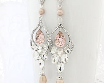 Blush Wedding Jewelry Earrings, Wedding Chandelier Earrings, Pearl Bridal Earrings Rose, Long Wedding Earrings with Pearls and Crystals,