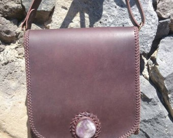 Handmade leather shoulder bag with natural stone-fluorite