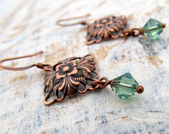 Small Copper Earrings Soft Green Crystals / copper jewelry