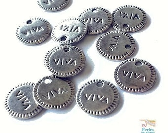 "12 charms ""Viva!"", silver plated nickel free, 10mm sequins (BRE275)"