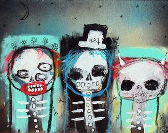 Abstract Skeletons Art Print. outsider art, artbrut, Colorful wall art, gothic art, strange home decor, folk art, lowbrow, raw art, skulls