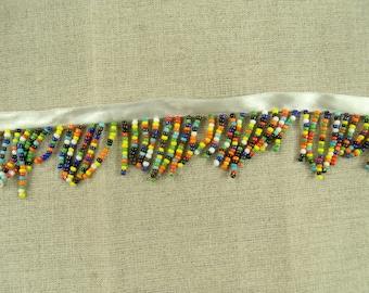 SEED beaded fringe Ribbon multicolor 4 cm
