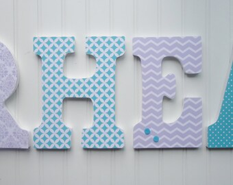 Wall Letters, Nursery  Wall Decor, Wooden Letters, Custom Name, Lavender and Aqua Patterns, Hanging letters