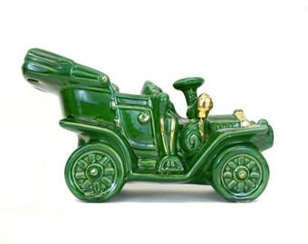 Vintage Allen-Shaw Green Planter Jalopy Car Green & Gold Headlights (E1966)