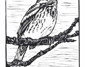 Song Sparrow, Linocut Relief Print, Hand Pulled Fine Art, Limited Edition, Printmaking Original