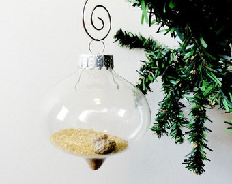 MIniature Horse hair Basket Christmas Ornament, Glass Ball, White Blonde Horsehair on sand, Tiny Basket, Basketmakers gift