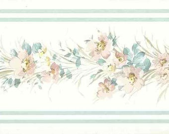 Blue Floral Vintage Wallpaper Border Satin Pink Green Yellow 56515849 15 Feet
