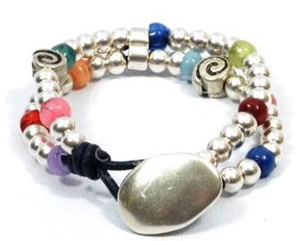 wrap boho bracelet, beaded wrap bracelet, multicolor bracelet, multistrand bracelet, sterling silver plated bracelet, button clasp