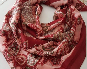 Red or blue 100 % pure silk scarf 100x100cm