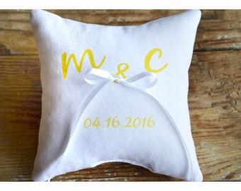 Portatore cuscino anello personalizzato, anello nuziale cuscino, cuscino del matrimonio, cuscino personalizzato l'anello, anello cuscino portatore (R4)