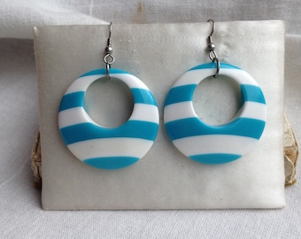 Vintage Mod Turquoise Blue and White Earrings
