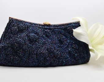 Vintage GIMBELS Beaded Evening Clutch, Made in France expressly for GIMBLE BROTHERS, Iridescent blue evening bag, blue prom purse