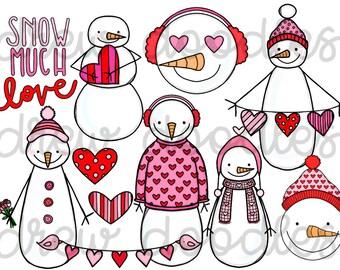 Great Valentineu0027s Day Snowmen Digital Clip Art Set  Instant Download