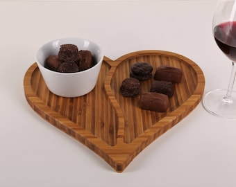 Valentine's Day Bamboo Serving Tray, Cheese Board, Specialty Plate, Specialty Gift