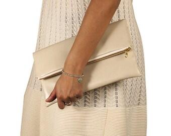 faux leather beige fold over clutch, foldover, pebble texture, neutral clutch, wedding bag, de almeida designs