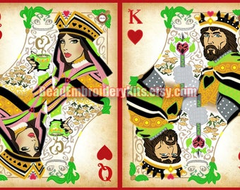 Playing Cards diptych bead embroidery, DIY needlework kit, seed glass stitching, needlepoint craft set